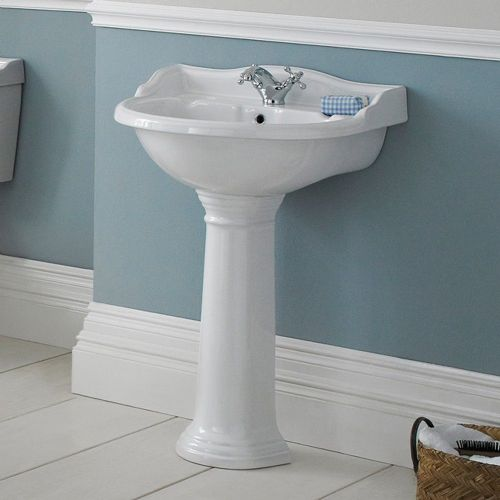 Marquis 600mm Basin & Full Pedestal - 1 Tap Hole